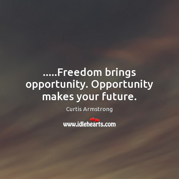 …..Freedom brings opportunity. Opportunity makes your future. Curtis Armstrong Picture Quote
