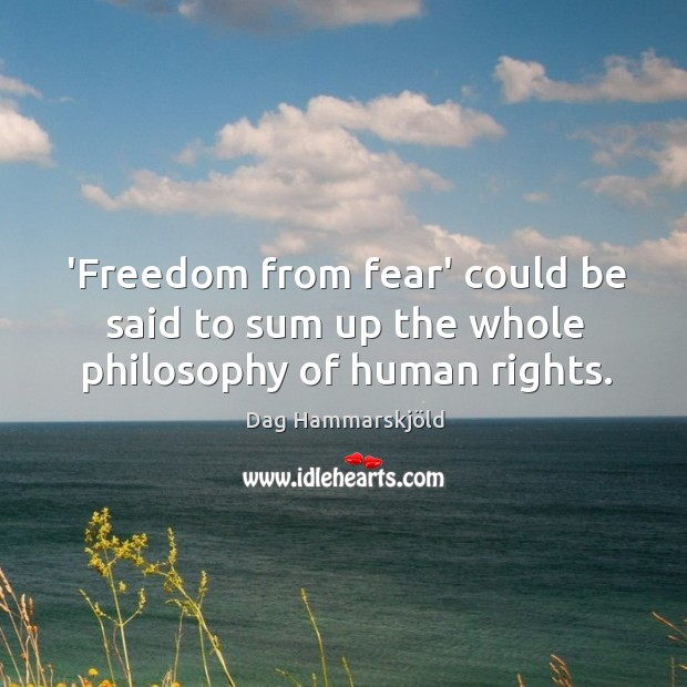 Image, 'Freedom from fear' could be said to sum up the whole philosophy of human rights.