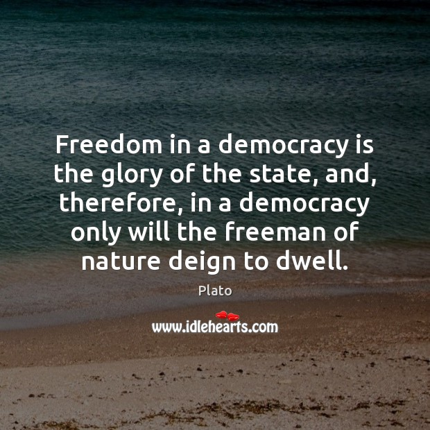 Freedom in a democracy is the glory of the state, and, therefore, Image