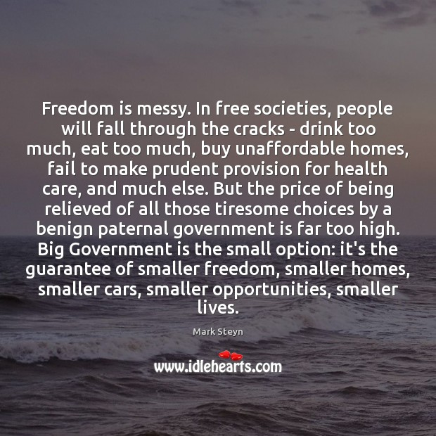 Freedom is messy. In free societies, people will fall through the cracks Mark Steyn Picture Quote