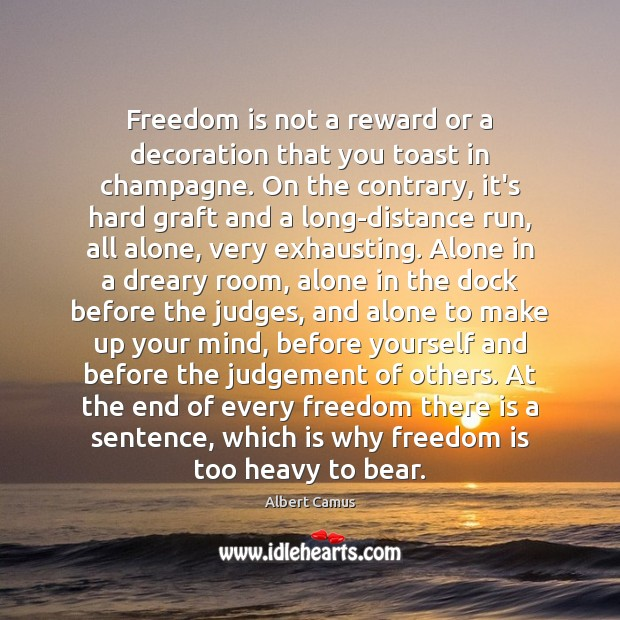 Freedom is not a reward or a decoration that you toast in Image