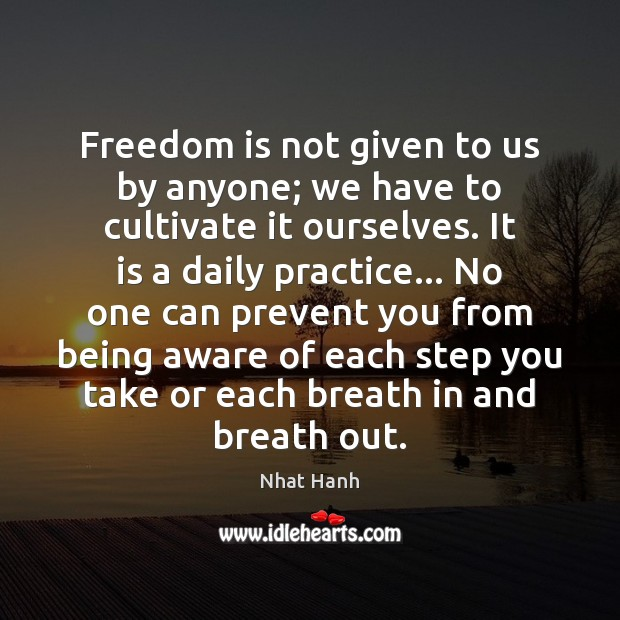 Image, Freedom is not given to us by anyone; we have to cultivate