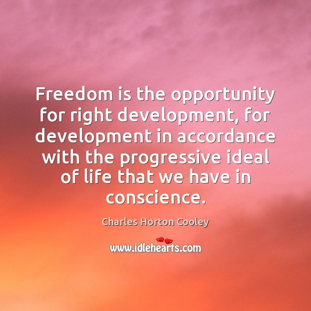 Freedom is the opportunity for right development, for development in accordance with Image