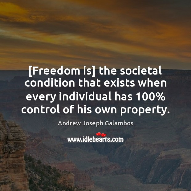 [Freedom is] the societal condition that exists when every individual has 100% control Freedom Quotes Image