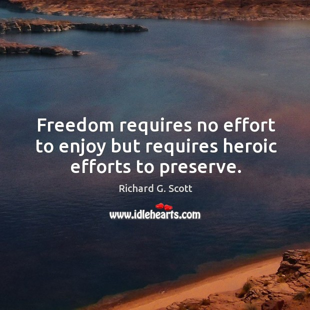 Freedom requires no effort to enjoy but requires heroic efforts to preserve. Image