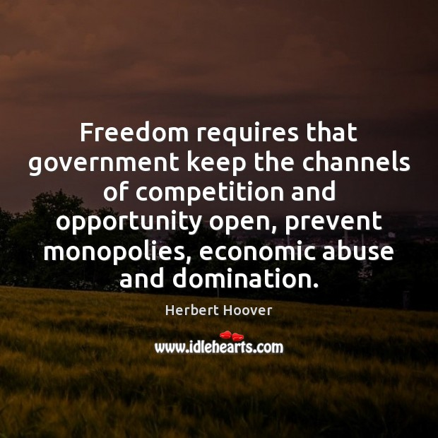 Freedom requires that government keep the channels of competition and opportunity open, Herbert Hoover Picture Quote