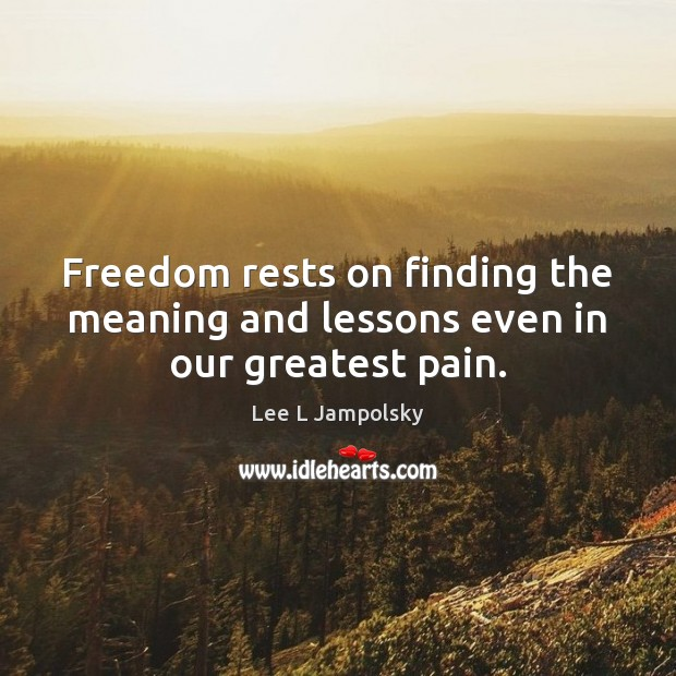 Freedom rests on finding the meaning and lessons even in our greatest pain. Lee L Jampolsky Picture Quote
