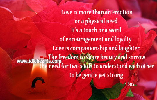 Love is more than an emotion or a physical need. Emotion Quotes Image