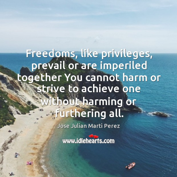 Freedoms, like privileges, prevail or are imperiled together you cannot harm or strive to Jose Julian Marti Perez Picture Quote