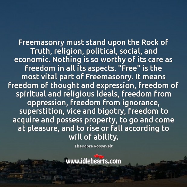 Image, Freemasonry must stand upon the Rock of Truth, religion, political, social, and