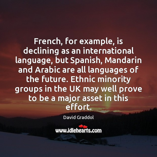 French, for example, is declining as an international language, but Spanish, Mandarin Image