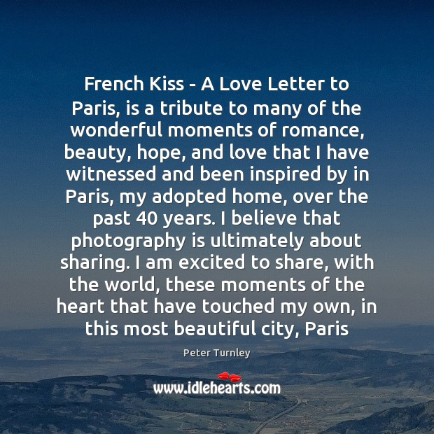 Image, French Kiss – A Love Letter to Paris, is a tribute to