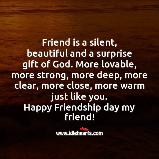 Friend is a beautiful and surprise gift of God. Friendship Day Messages Image