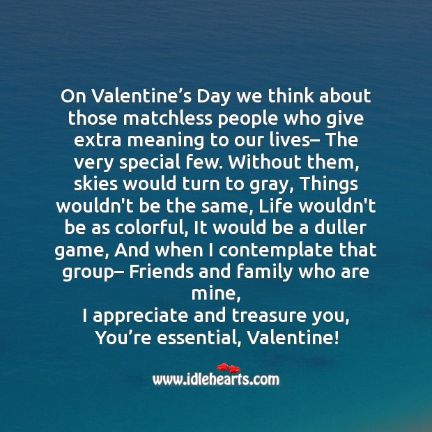Friends and family who are mine Valentine's Day Messages Image
