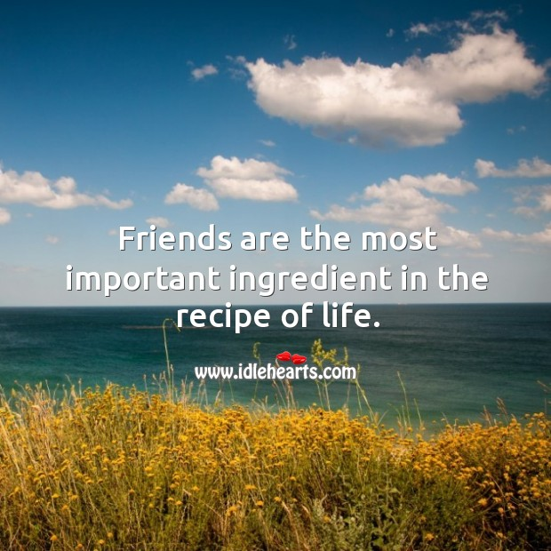 Image, Friends are the most important ingredient in the recipe of life.