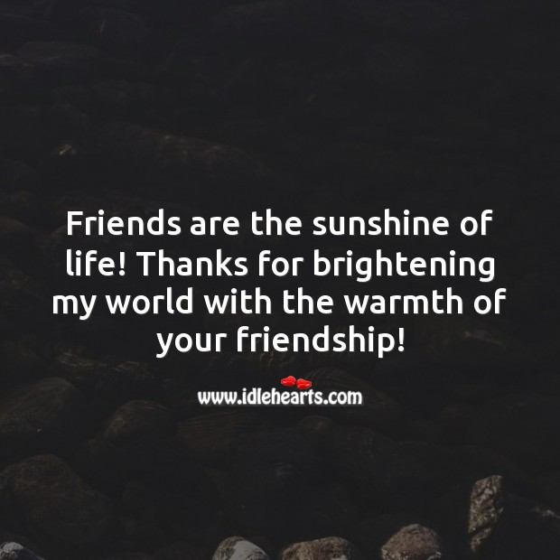 Thanks for brightening my world with the warmth of your friendship! Friendship Messages Image