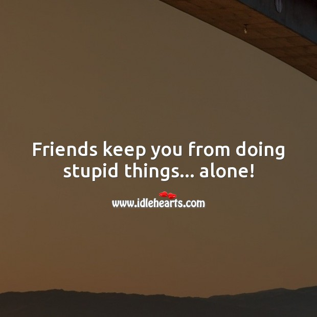 Friends keep you from doing stupid things… alone! Funny Friendship Quotes Image