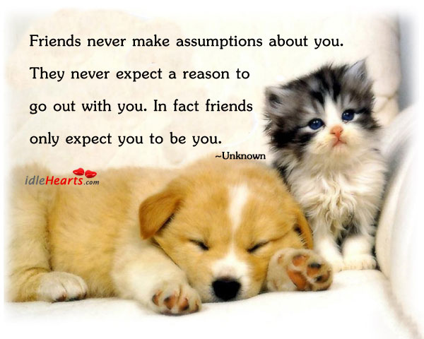 Friends never make assumptions about you. Image
