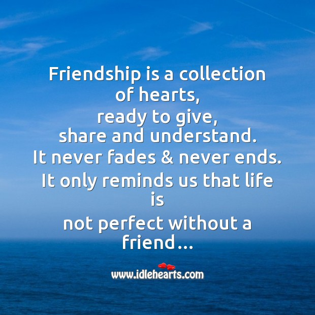 Friendship is a collection of hearts Image