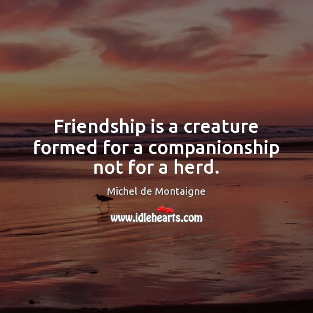 Friendship is a creature formed for a companionship not for a herd. Image