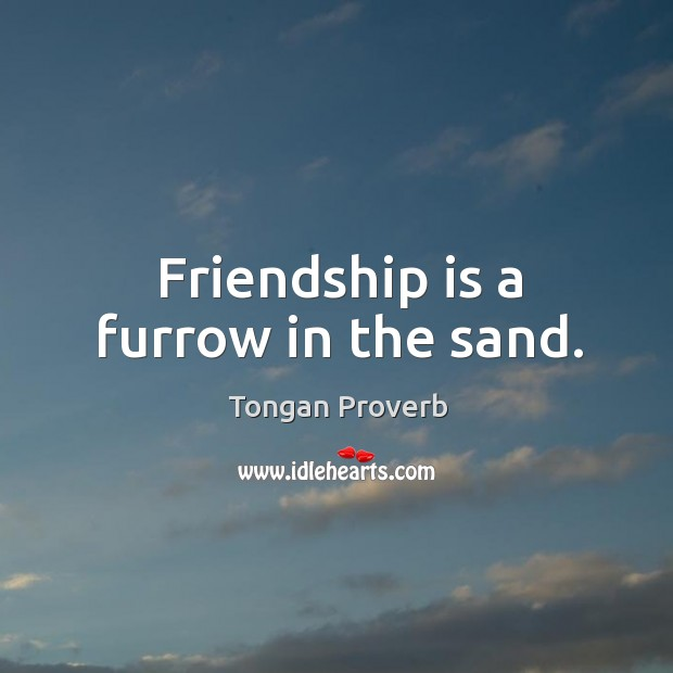 Friendship is a furrow in the sand. Tongan Proverbs Image