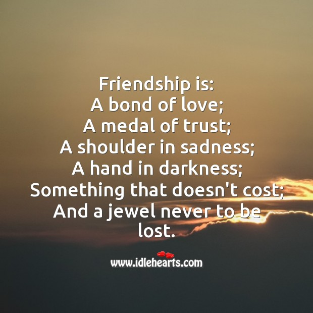 Image about Friendship is a jewel never to be lost