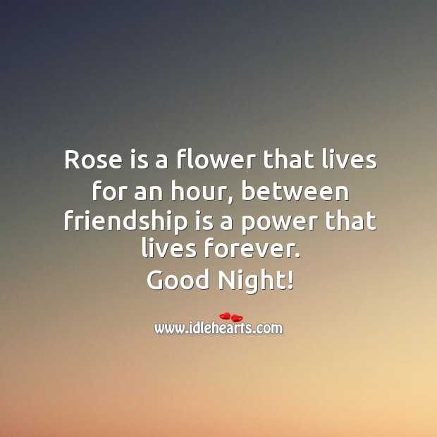 Image, Friendship is a power that lives forever. Good night!