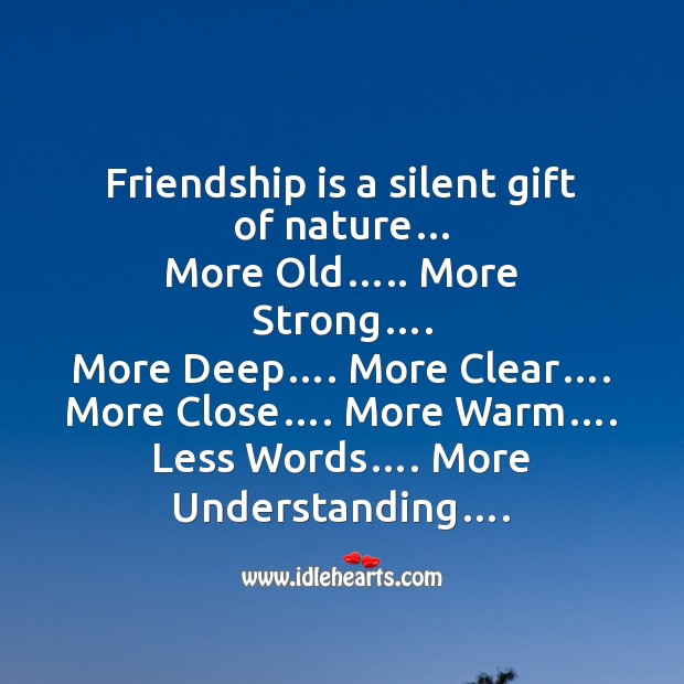 Friendship is a silent gift of nature Friendship Day Messages Image