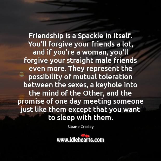 Friendship is a Spackle in itself. You'll forgive your friends a lot, Sloane Crosley Picture Quote