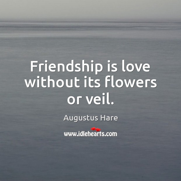 Image, Friendship is love without its flowers or veil.