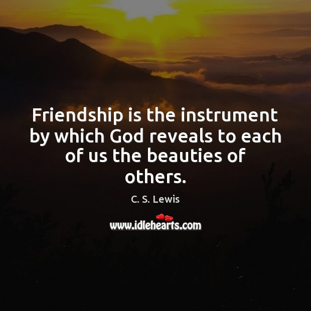 Friendship is the instrument by which God reveals to each of us the beauties of others. Image