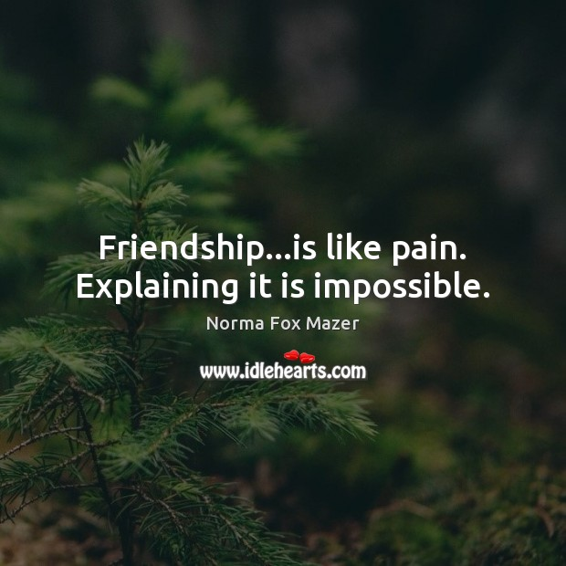Friendship…is like pain. Explaining it is impossible. Image