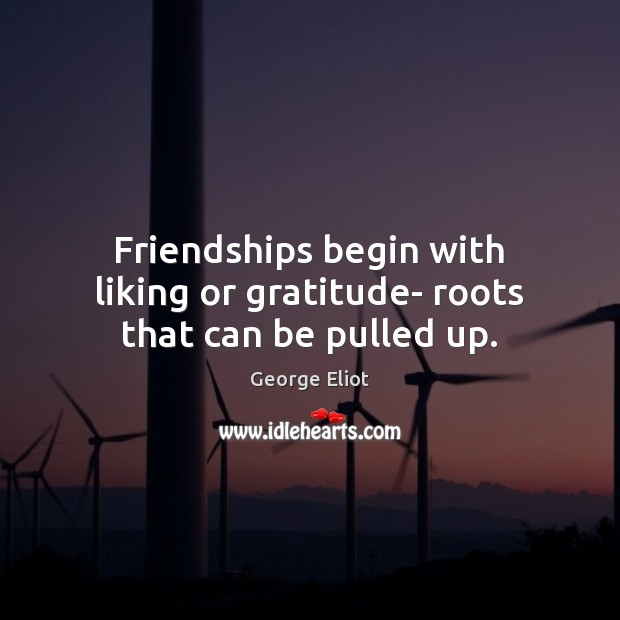 Image, Friendships begin with liking or gratitude- roots that can be pulled up.