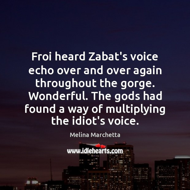 Froi heard Zabat's voice echo over and over again throughout the gorge. Melina Marchetta Picture Quote