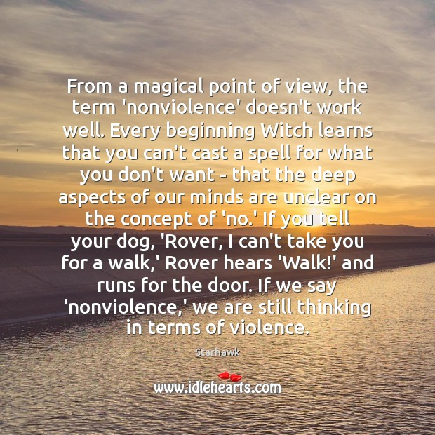 Image, From a magical point of view, the term 'nonviolence' doesn't work well.