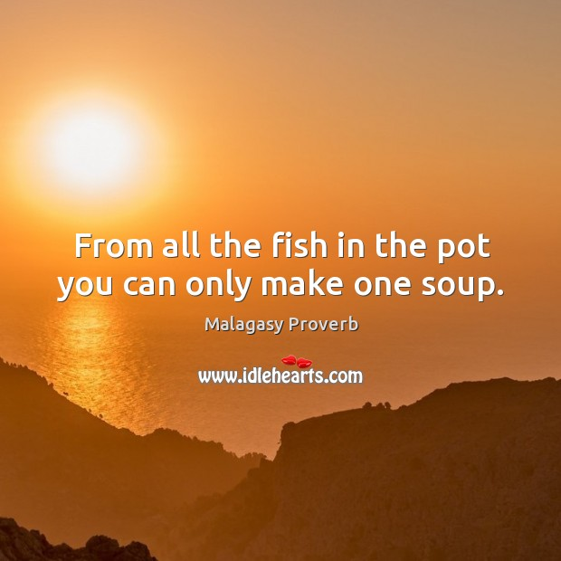 From all the fish in the pot you can only make one soup. Malagasy Proverbs Image