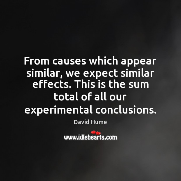 From causes which appear similar, we expect similar effects. This is the Image