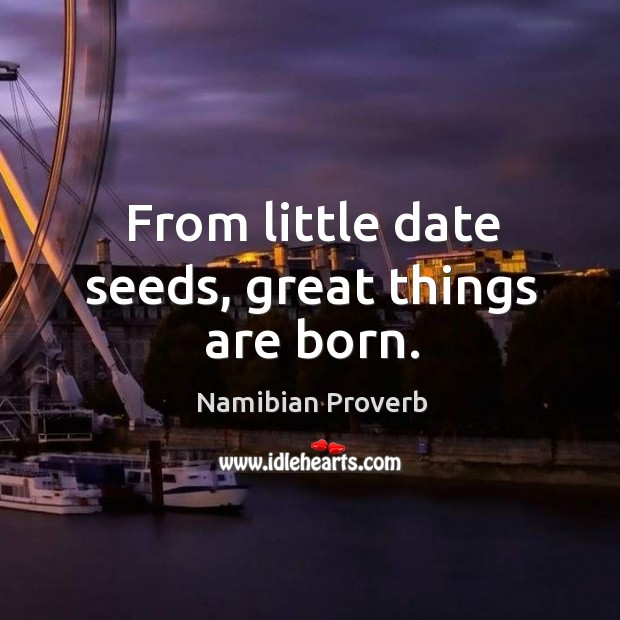 From little date seeds, great things are born. Namibian Proverbs Image