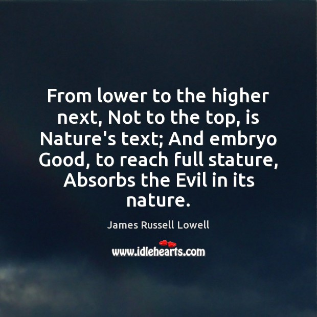 From lower to the higher next, Not to the top, is Nature's Image