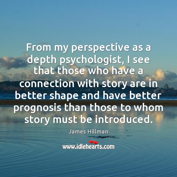 From my perspective as a depth psychologist, I see that those who James Hillman Picture Quote
