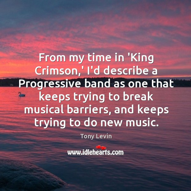 From my time in 'King Crimson,' I'd describe a Progressive band Image