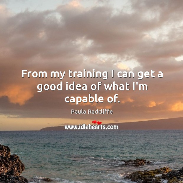 From my training I can get a good idea of what I'm capable of. Image