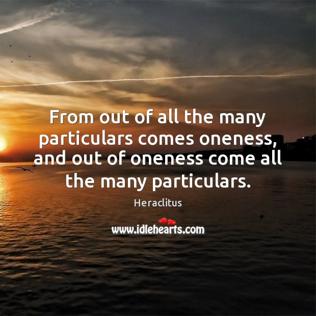 From out of all the many particulars comes oneness, and out of Heraclitus Picture Quote
