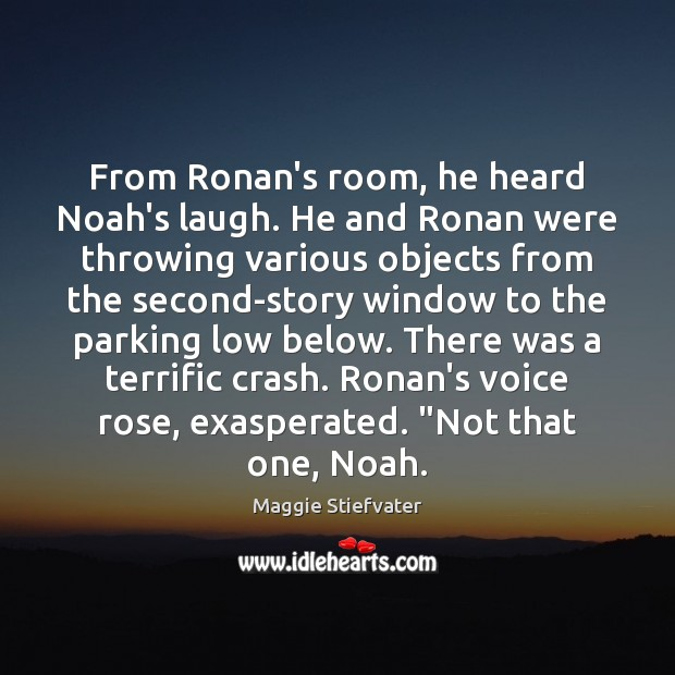 From Ronan's room, he heard Noah's laugh. He and Ronan were throwing Image