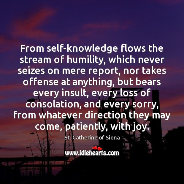 Image, From self-knowledge flows the stream of humility, which never seizes on mere