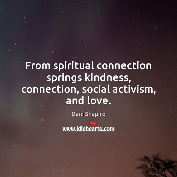 From spiritual connection springs kindness, connection, social activism, and love. Dani Shapiro Picture Quote