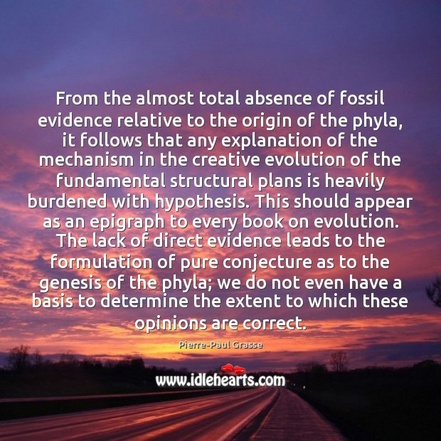 Image, From the almost total absence of fossil evidence relative to the origin