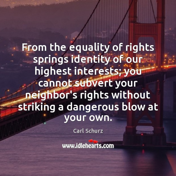 From the equality of rights springs identity of our highest interests; you Carl Schurz Picture Quote