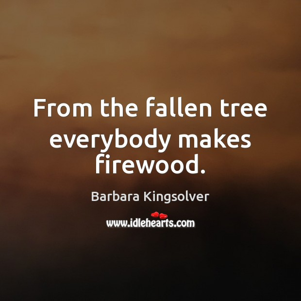 From the fallen tree everybody makes firewood. Image