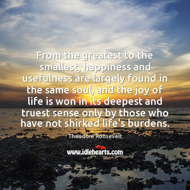 From the greatest to the smallest, happiness and usefulness are largely found Theodore Roosevelt Picture Quote